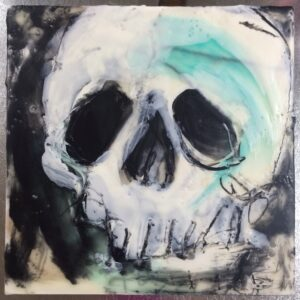 "Encaustic on 6""x6"" cradled wood panel"