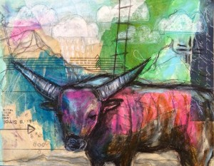 """Bull"" Mixed-media on 9""x12"" cradled wood panel"