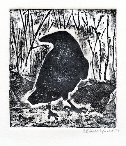 Raven collagraph