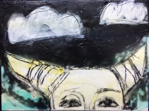 """""""She Called Down the Moon"""" Encaustic on 9""""x12"""" cradled wood panel"""